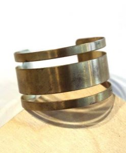 thick stripes brass bracelet - handmade jewelry