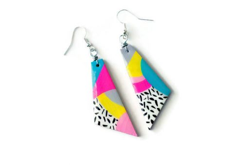 tilt view of the max - neon abstract art 80s earrings