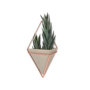 triangle copper and concrete wall hanging planter