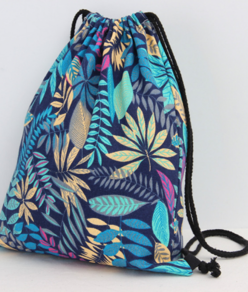tropical blue and green floral backpack