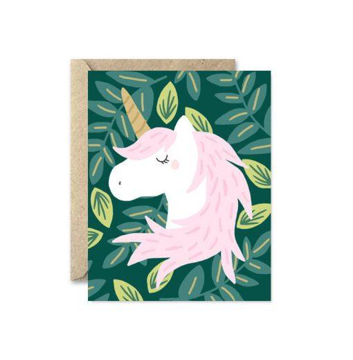 unicorn in the meadow greeting card