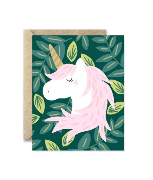 unicorn in the meadow greeting card
