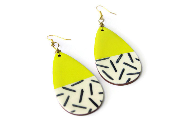 yellow and stripes teardrop dangle earrings