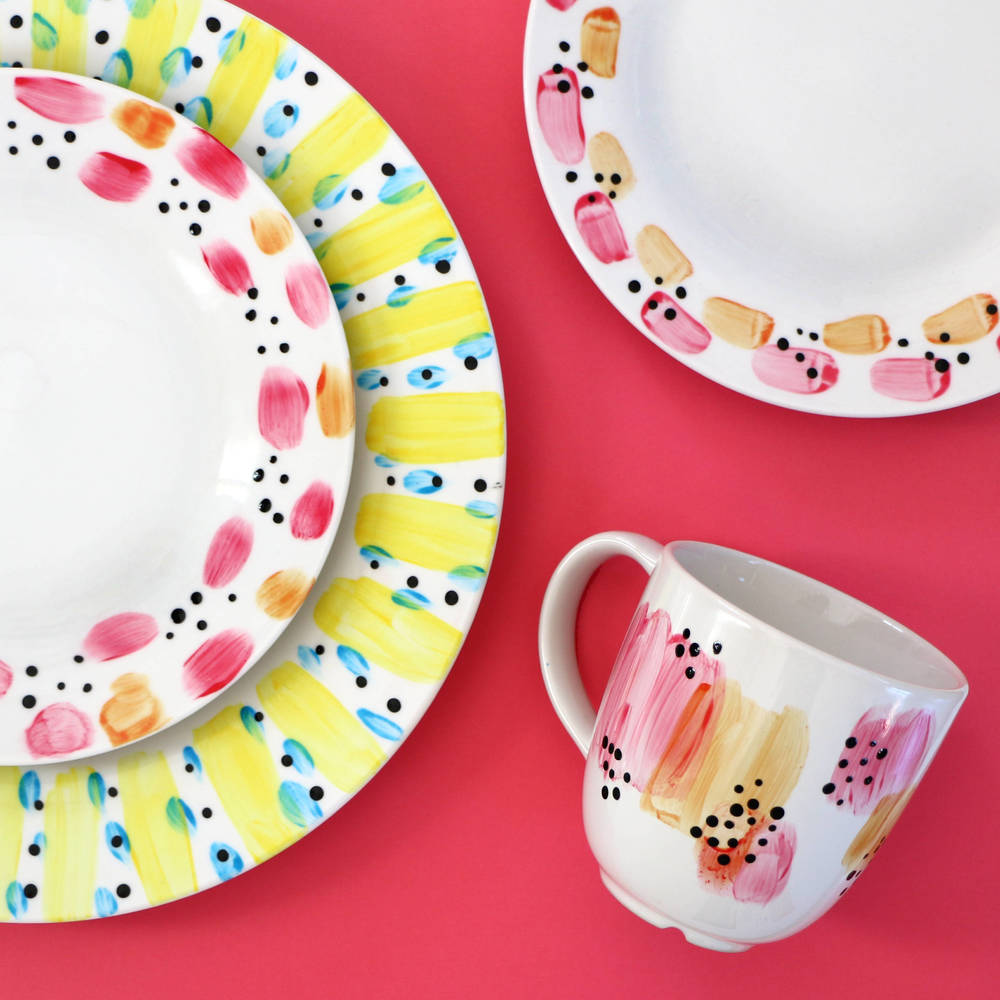 abstract painted dishes blitsy tutorial pop shop america
