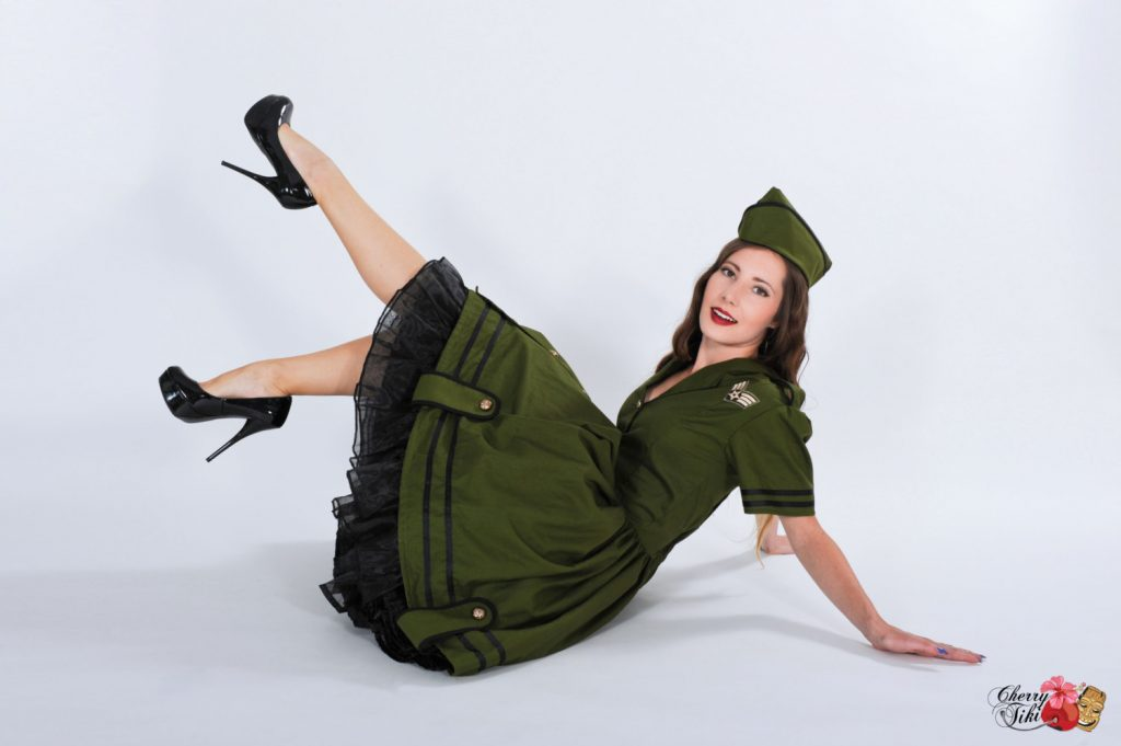 army military pinup girl handmade costume by cherry tiki