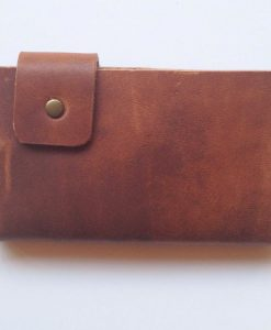 back of cherry brown mens leather wallet handmade