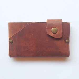 cherry brown handmade leather origami wallet