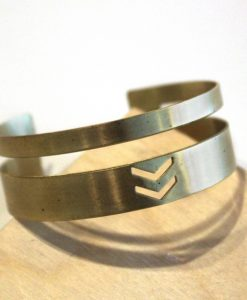 chevron and stripes brass bracelet handmade jewlery_web