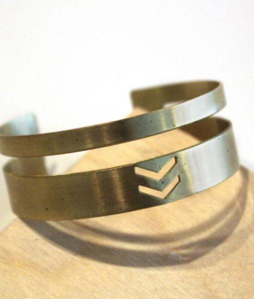 chevron and stripes brass bracelet handmade jewlery_web