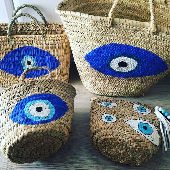 evil eye straw tote bag straw basket diy pop shop america