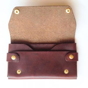 large mahogany leather wallet open pop shop america handmade mens accessories