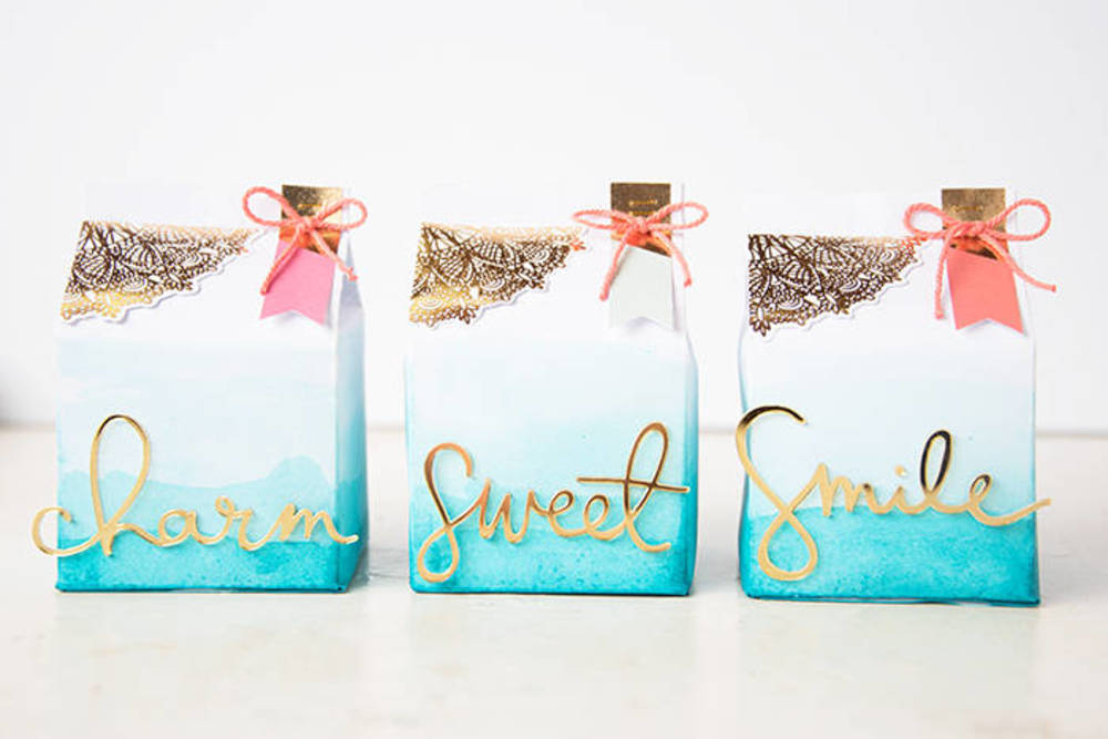 ombre watercolor favor boxes