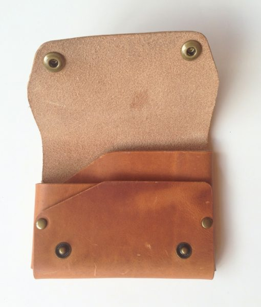 rustic leather snap wallet - handmade accessories pop shop america