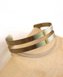 small geometric lines brass bracelet - handmade jewelry pop shop america_wen