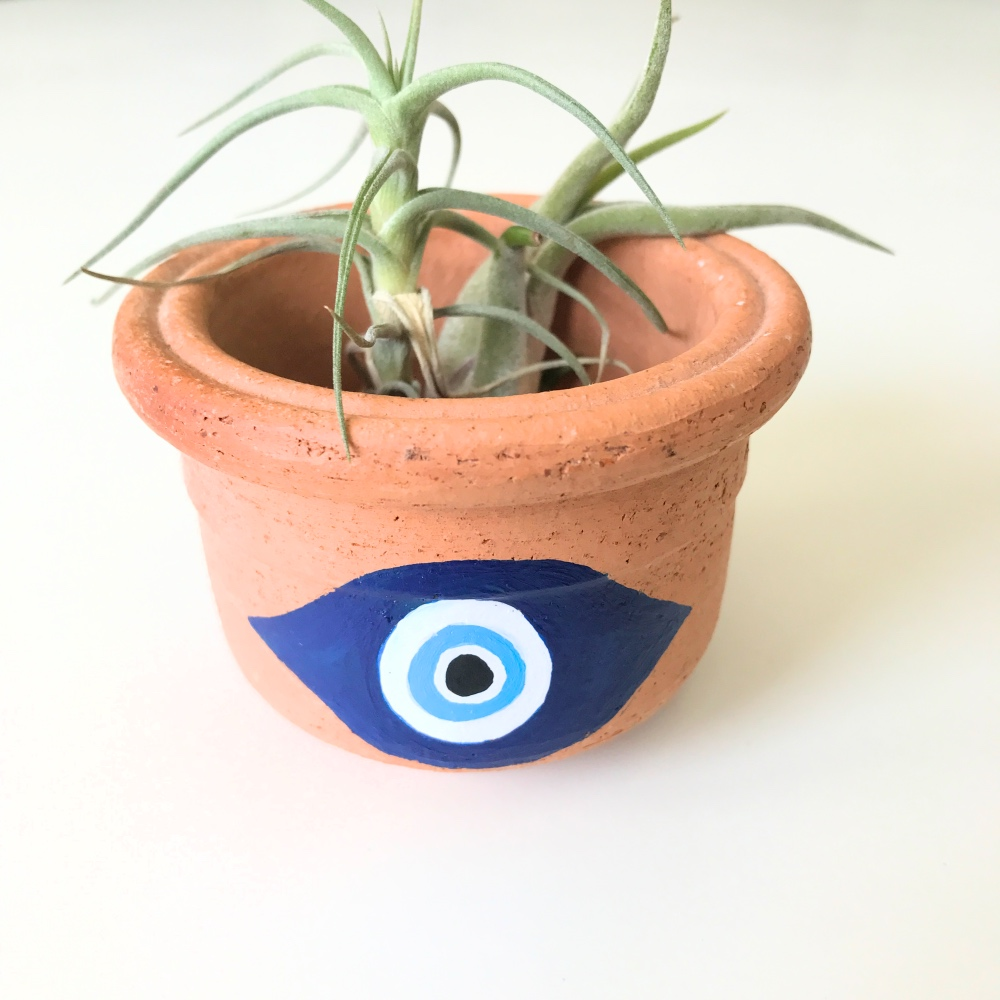 detail of hero evil eye pot diy with plants