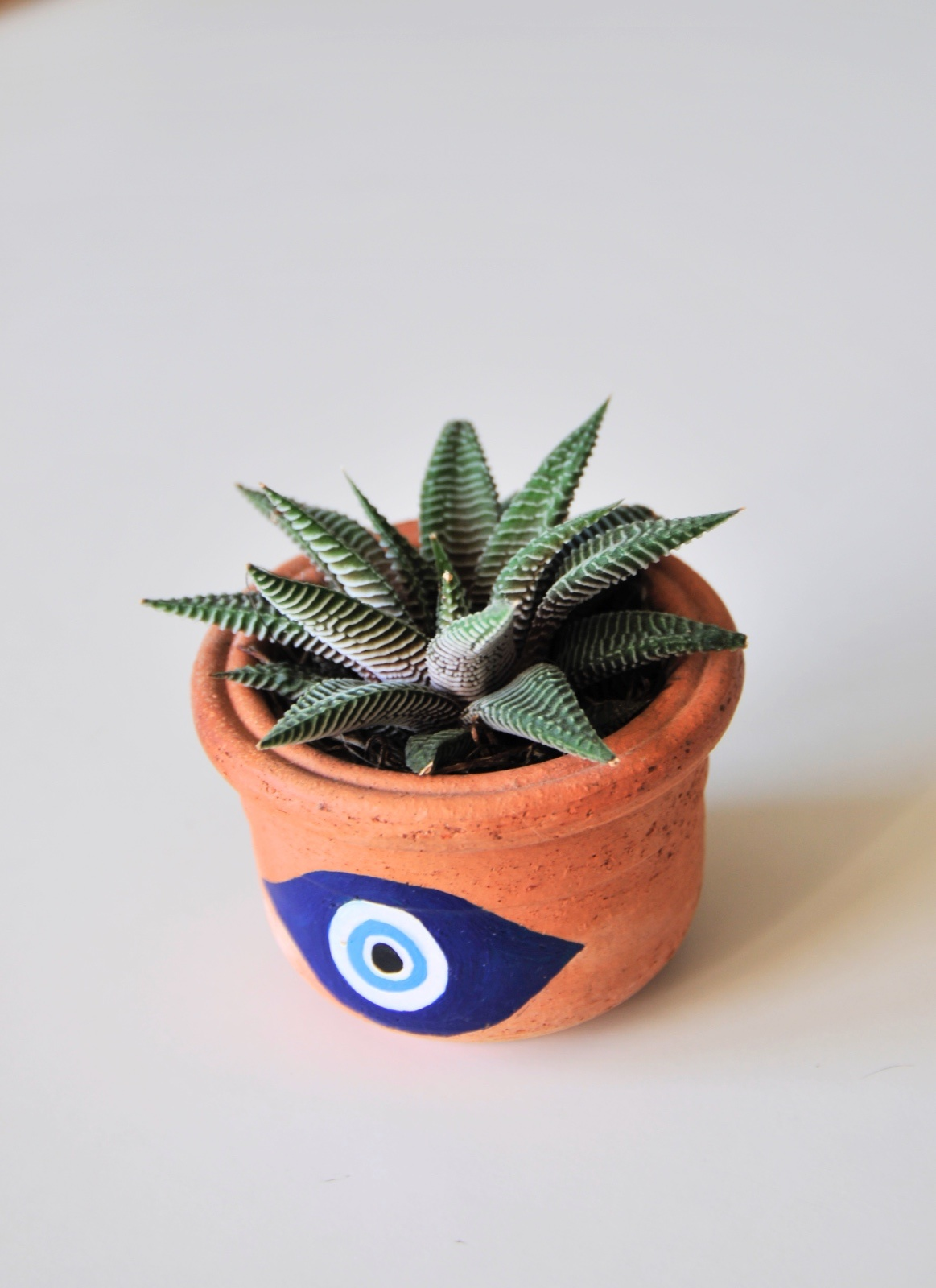 finished hand painted evil eye terra cotta planter pop shop america