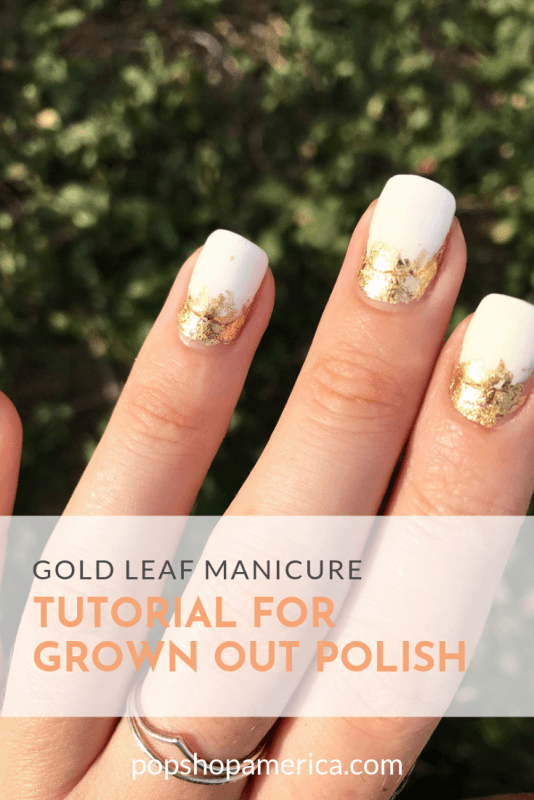 gold leaf manicure tutorial for grown out polish