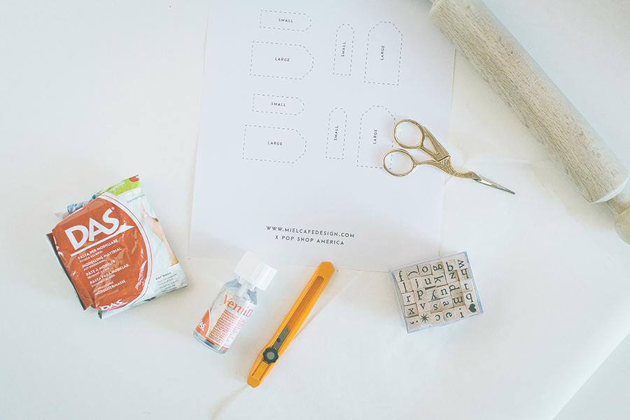 DIY Clay Gift Tags Materials