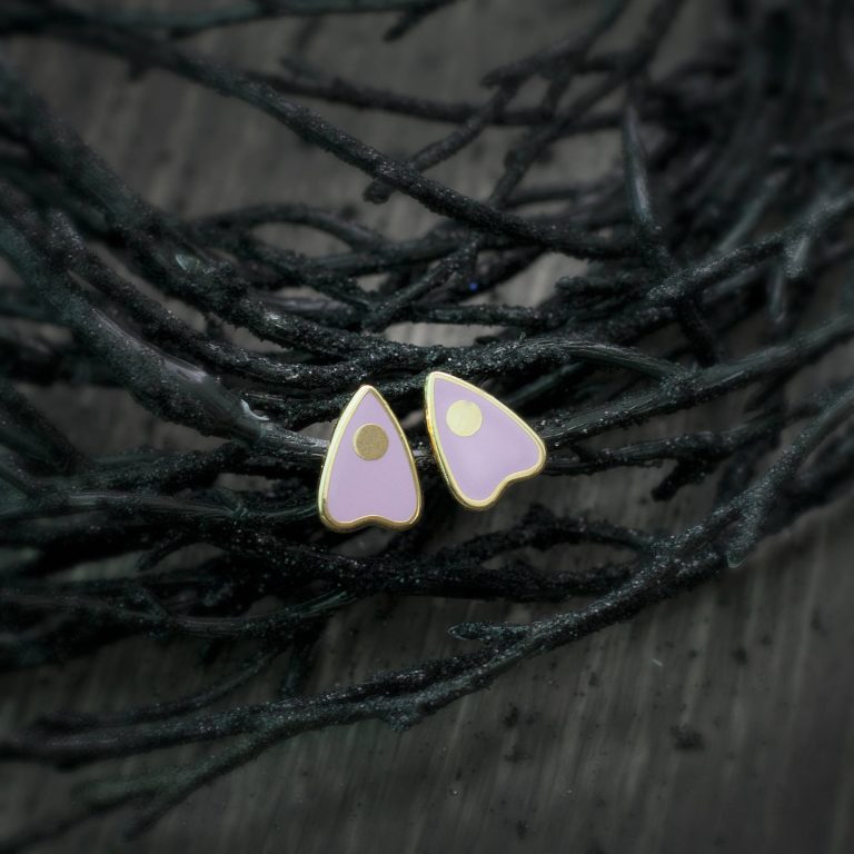 pink ouija stud earrings in 22k gold