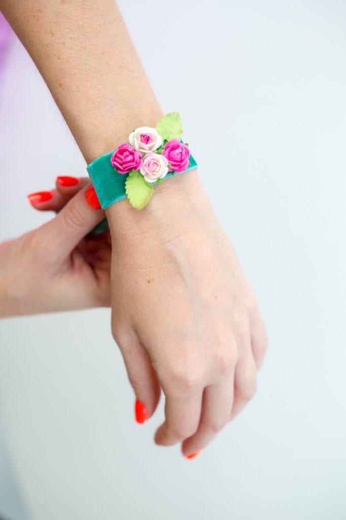 wearing-handmade-corsage-paper-flowers-diy