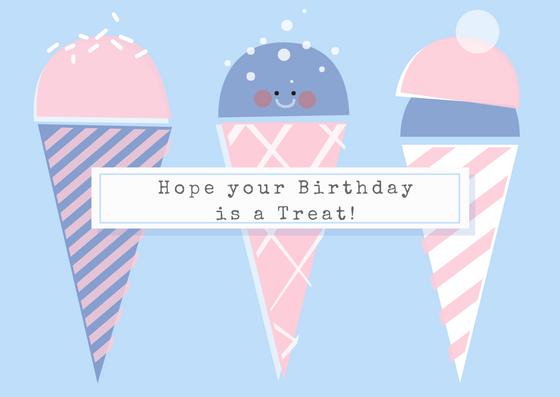 Cute Ice Cream Birthday Card