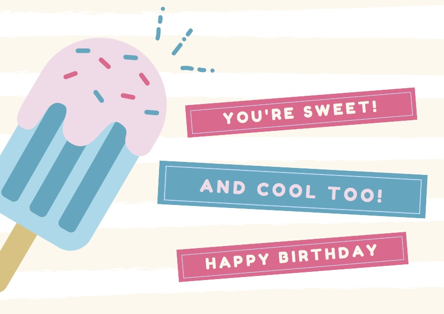 Pink and Blue Ice Cream Birthday Card
