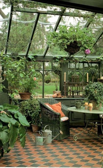 at home greenhouse with gorgeous seating