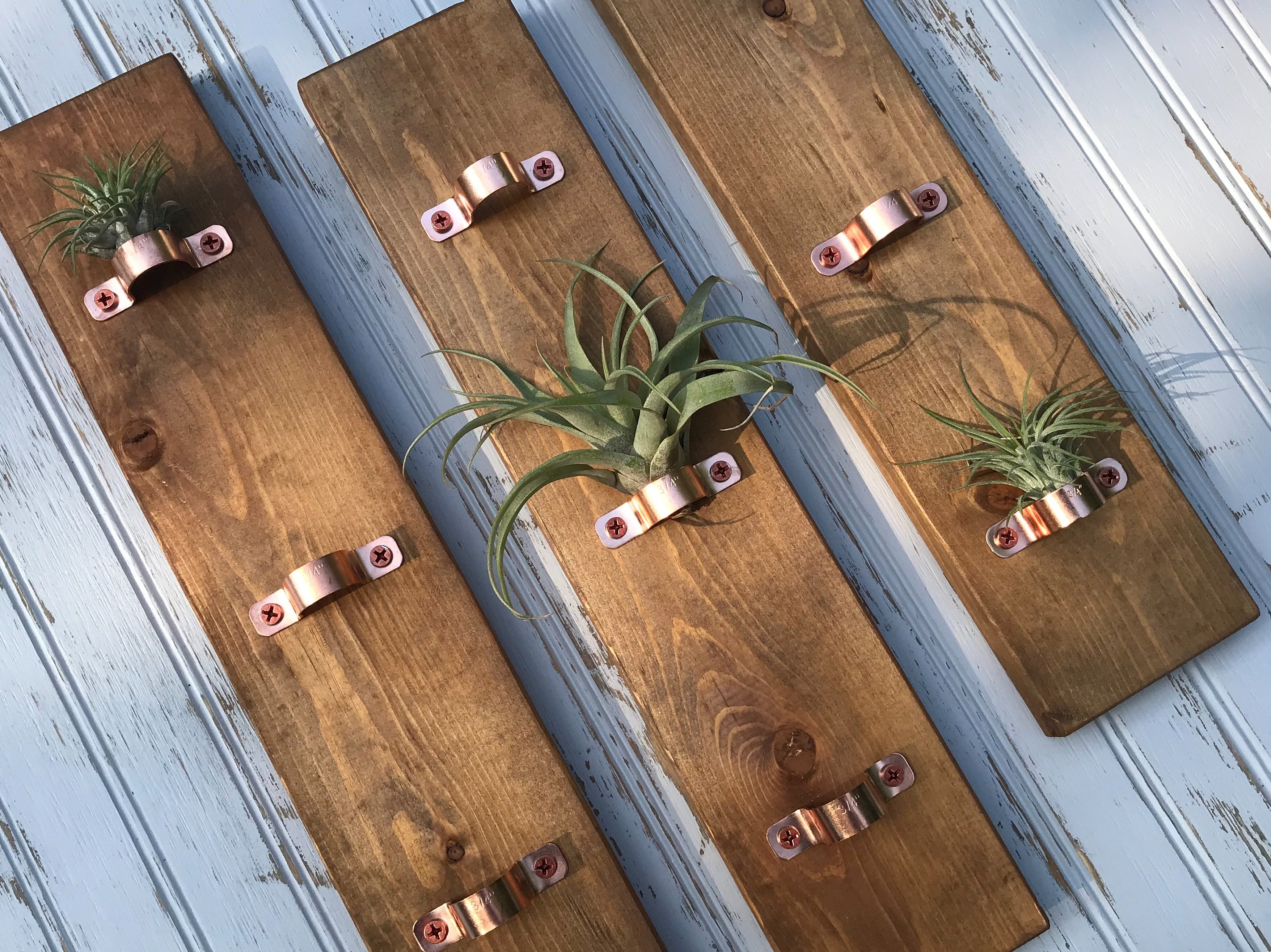 wood and copper wall mounted air plant hanger