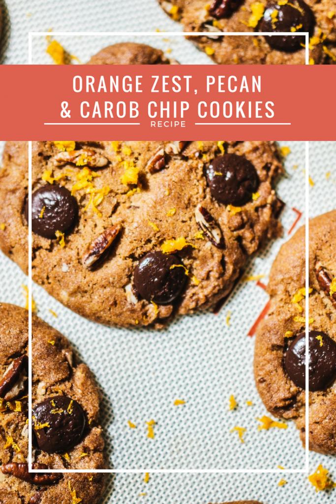 orange zest, pecan & carob chip cookies