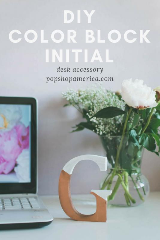 Color Blocked Initial Desk Accessory DIY Pop Shop America