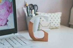 DIY Color Block Metallic Letter Initial Desk Ornament Tutorial