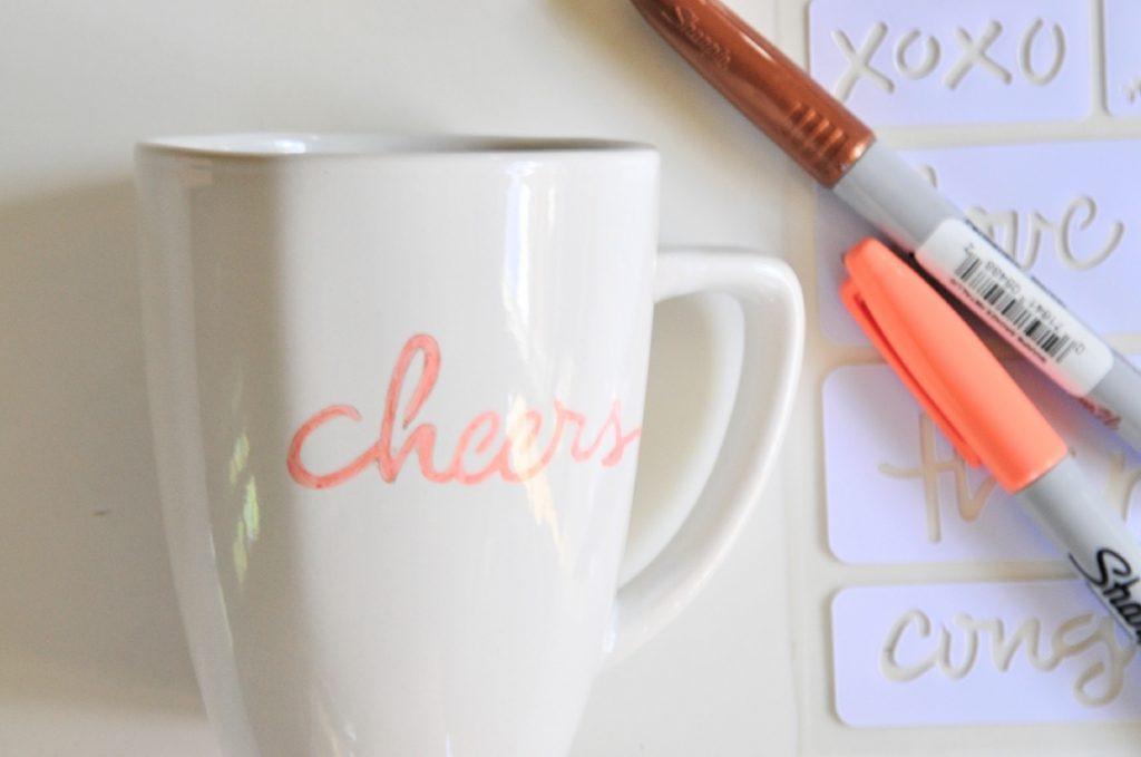 finished stencil sharpie coffee mug diy pop shop america