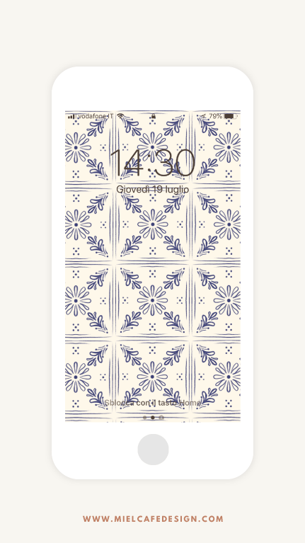 Vintage Tiles Phone Wallpaper Navy Blue Free Download