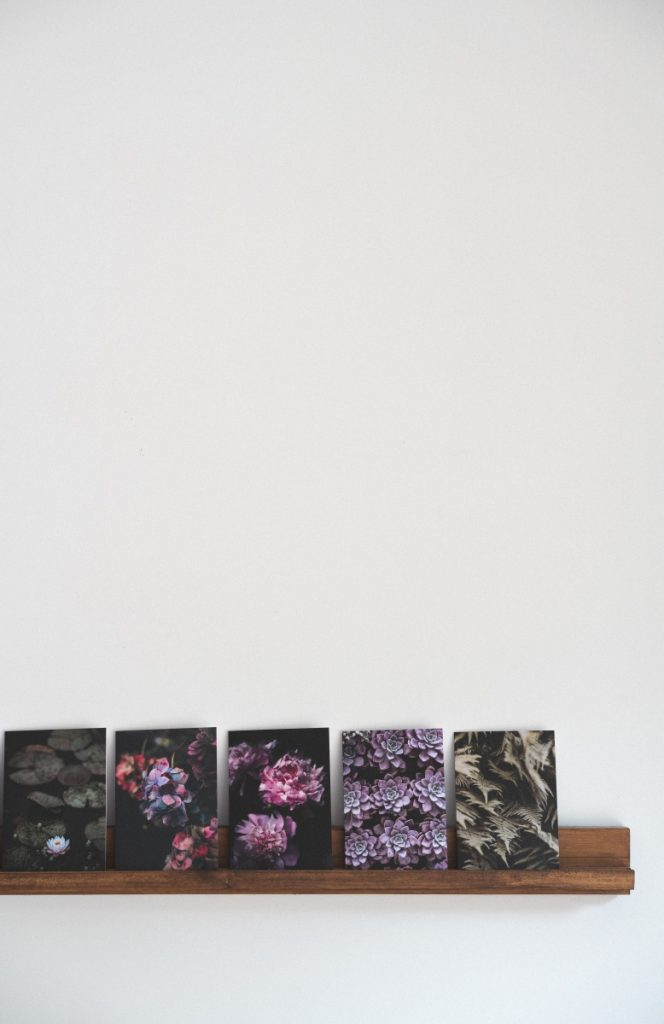 diy art shelf with flower photos pop shop america