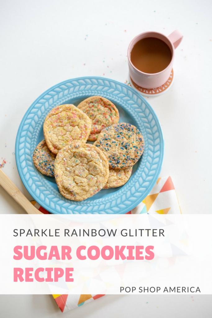 sparkle rainbow glitter sugar cookies recipe pop shop america