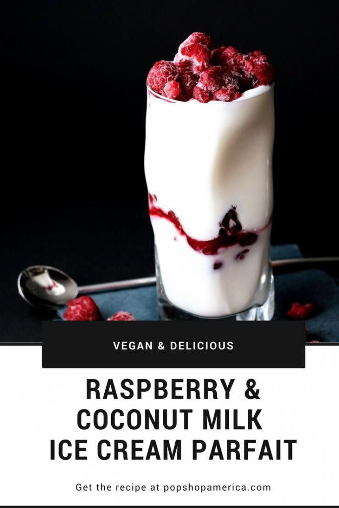 vegan raspberry and coconut milk ice cream parfait recipe title