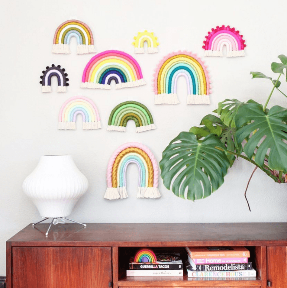 fiber rainbow wall hangings mandi smethells pop shop america