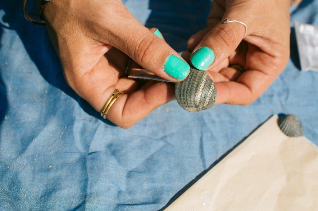 press the hair clips to the seashell - handmade seashell accessories