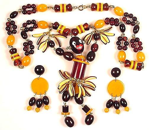 Josephine Baker Bakelite Necklace Earrings Set