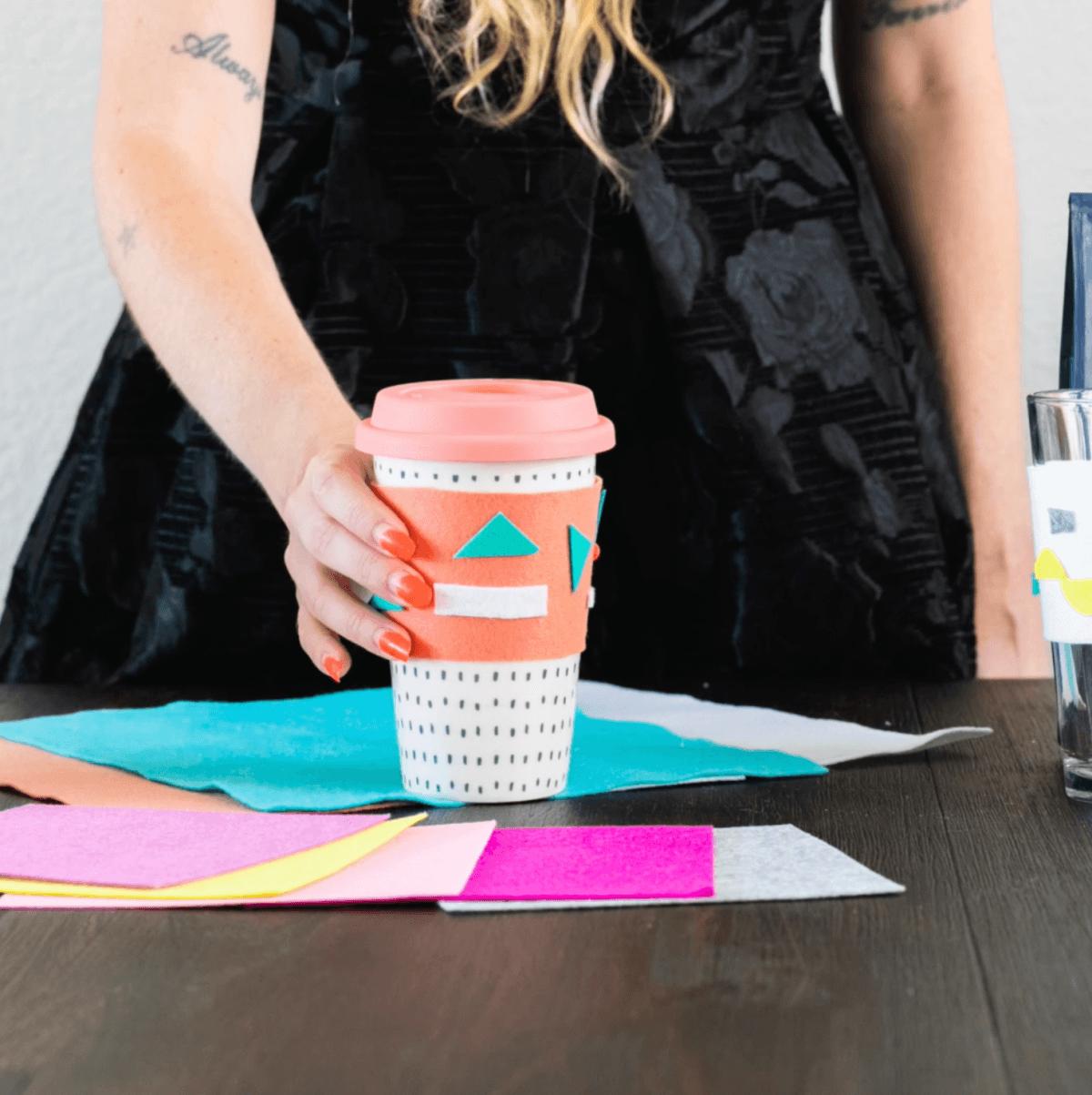 abstract art diy felt coffee koozie pop shop america