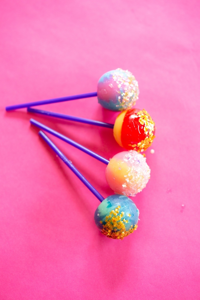 lollipops with edible glitter gold stars rainbow and more