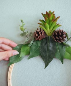 placing the leaves and plants pop shop america wreath diy