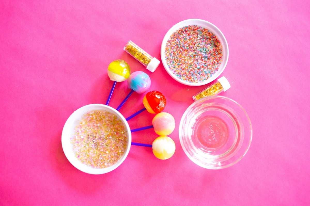 supplies to make glitter dipped lollipops pop shop america