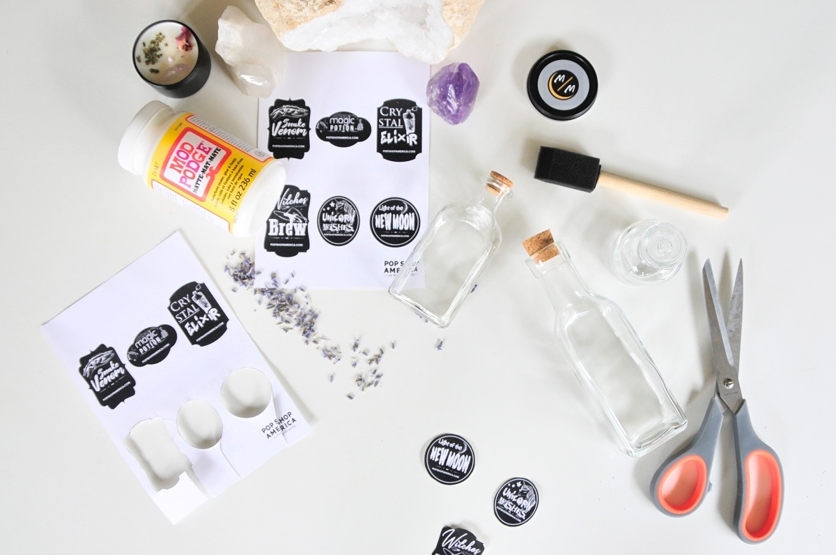 supplies to make spooky apothecary jars with free printable labels