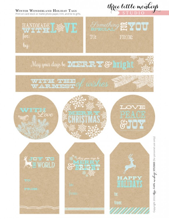 Craft Paper Holiday Gift Tags Set Printables