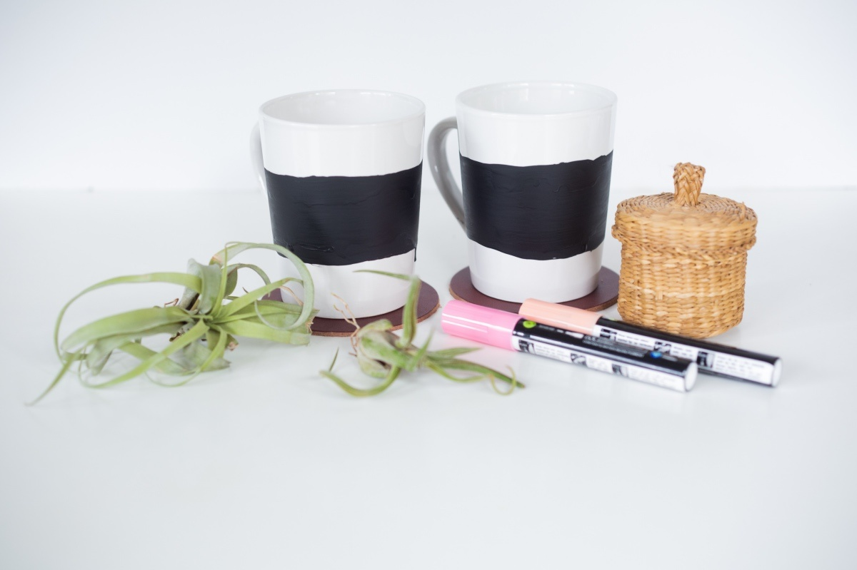 finished painted chalkboard holiday mugs pop shop america