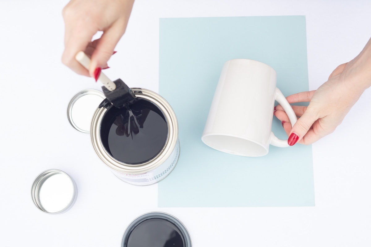 supplies to make chalkboard painted mugs diy
