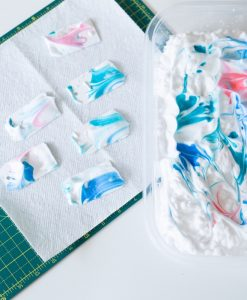 dip the paper in the marbling pop shop america shaving cream marbling