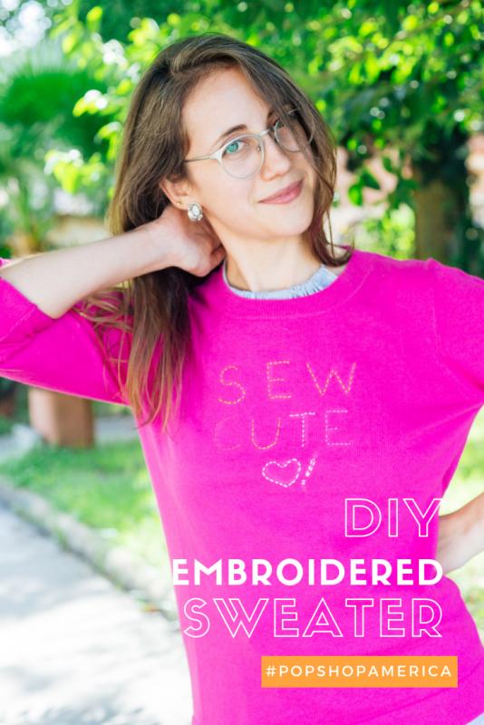diy embroidered sweater craft tutorial pop shop america