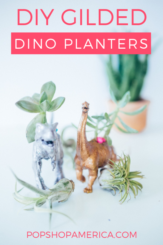 diy gilded dinosaur planters pop shop america